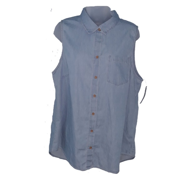 New Directions Tops - New Dimensions Denim Tunic Sleeveless Vest Plus XL